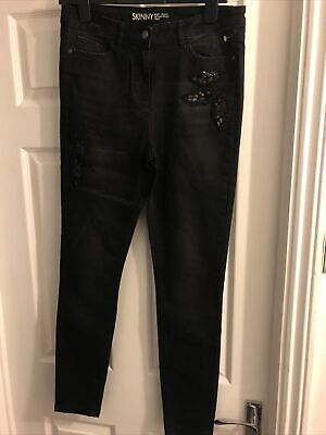 Next Black, Skinny Jeans With Embellishments 12long • 2£