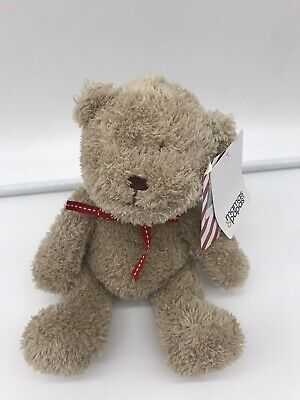 Mamas And & Papas Brown Beige Teddy Bear Baby Soft Toy Red Ribbon Comforter M&P • 19.99£