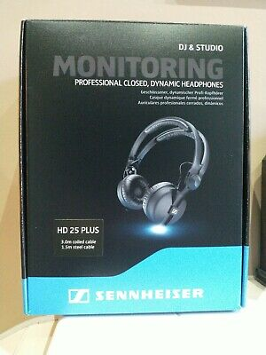 Sennheiser HD25 Plus DJ Headphones + Coiled & Straight Cable, Bag & Spare Pads • 159£