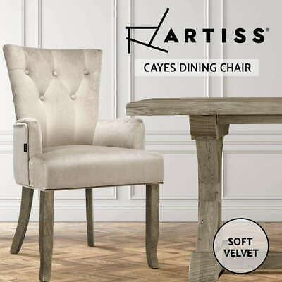 AU124.90 • Buy Artiss Dining Chairs French Provincial Chair Velvet Fabric Timber Retro Camel