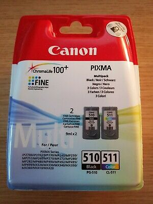 Original Canon PG510 Black & CL511 Colour Ink Cartridges For Pixma IP2702 • 23£