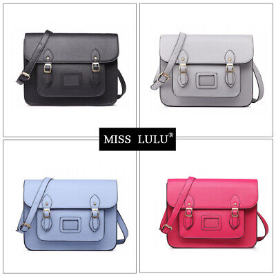 Women Faux Leather Large Satchel Briefcase Ladies Cross Body School Shoulder Bag • 14.99£