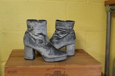 Grey Velvet 70's Style Fancy Dress Go Go Abba Ankle Boots Size 6 / 39  Used Con • 2£