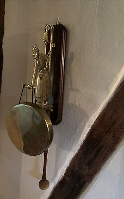 Vintage Brass Dutch Lady, Dinner Gong And Striker Wall Mounted On Wooded Plaque • 40£