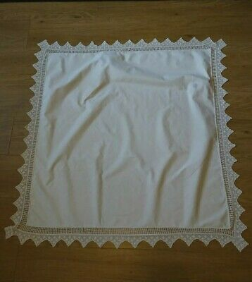 Vintage French Shabby Chic Cotton Linen Crochet Lace Edge Tablecloth 1m Sq • 2£