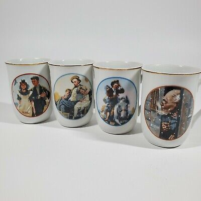 $ CDN27.84 • Buy Norman Rockwell Museum Collection  Coffee Mugs Cups Gold Trim Set Of 4