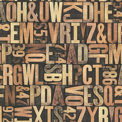 Beacon House By Brewster 2604-21250 Oxford Letterpress Sand Typography Wallpaper • 50.17£