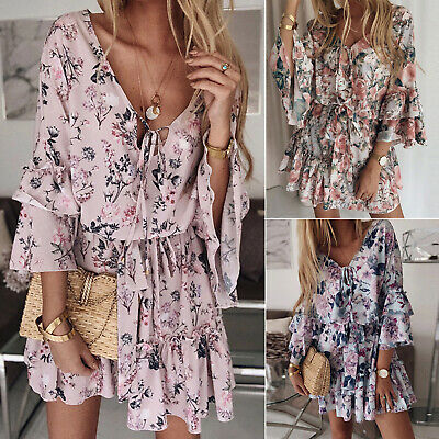 AU24.50 • Buy Women Boho Florals Mini Swing Dress Summer Holiday Beach Ruffle Frill Sundresses