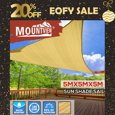 AU51.99 • Buy Sun Shade Sail Cloth ShadeCloth Triangle Canopy Outdoor Awning Cover Sand 5x5x5M
