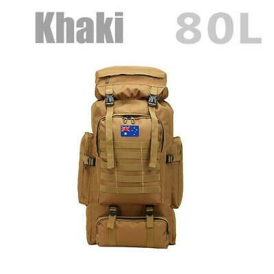 AU29.35 • Buy 80L Military Tactical Backpack Rucksack Hiking Camping Trekking Army Bag Khaki