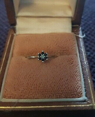9ct Gold Diamond And Sapphire Ring Size H 1/2 - I • 25£