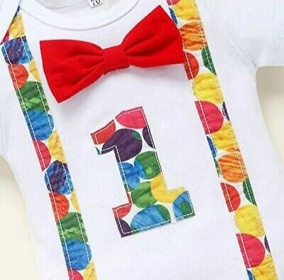 Boys 1st Birthday Cake Smash Outfit Hungry Caterpillar Bodysuit Bow • 8.74£