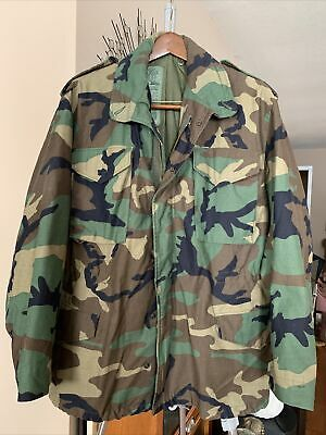 $49.80 • Buy M-65 US Army Coat Cold Weather Field Woodland Camo 8415-01-099-7835 Med Reg USA