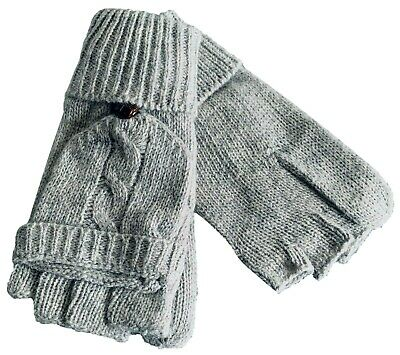£7.99 • Buy Grey Convertible Gloves Ladies Fingerless Cable Knit Knitted Winter Mittens New