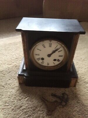 Vintage Slate And Marble Mantle Clock With French Mechanism • 9.38£