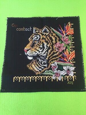 """Finished Completed Cross Stitch. Tiger Head And Flowers Entitled """"Eye Contact """" • 9.99£"""