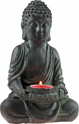 £11.99 • Buy 20cm Cement Weathered Effect Thai Buddha Tea Light Candle Holder Ornament