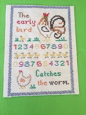 """Finished Completed Cross Stitch Sampler - """"The Early Bird Catches The Worm"""" • 5.95£"""