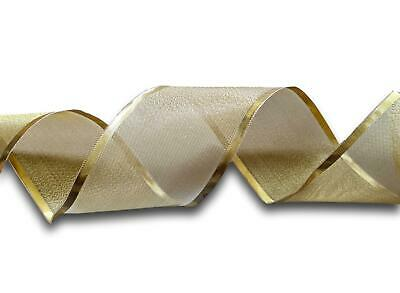 Christmas Metallic Gold Wire Edged Ribbon 5 Yards 65mm Wide *Up To 15% Off* UK • 6.29£