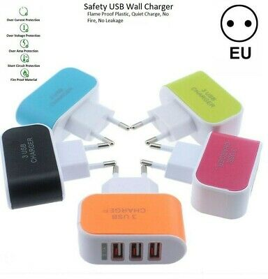 £3.29 • Buy European 2 Pin Travel Adapter 3 USB Ports Charger EU Europe Plug For Phones 3.1A
