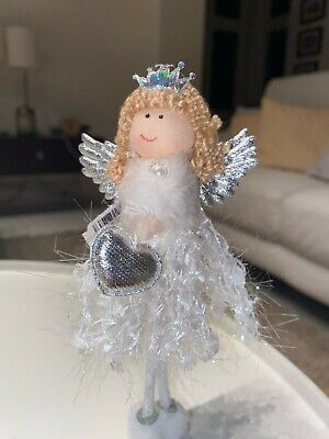 Christmas Sparkly Fairy Princess Ornament Free Standing Silver Mantle Piece   • 5£