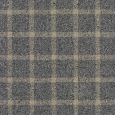 Abraham Moon Finsbury Taupe   100% Lambs Wool Check Curtain Upholstery Fabric • 32£