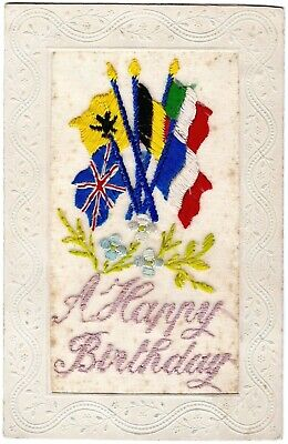 Silk Embroidered Ww1 Postcard - Five Allied Flags 'a Happy Birthday' 1916  V.g. • 1.99£