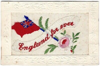 Silk Embroidered Ww1 Postcard - 'england For Ever' Red Ensign 1914-18  V.g. Cond • 1.99£