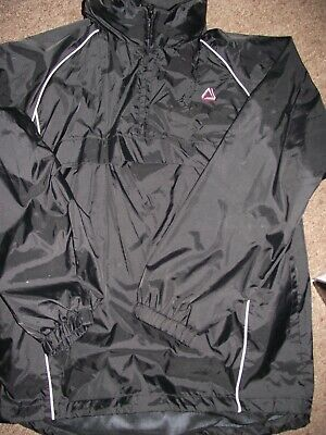 Mens Black 1/4 Zip Pull Over Cagoule Water Proof Jacket Size Small • 1.49£