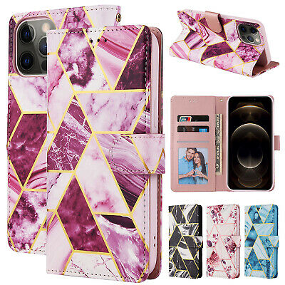AU13.46 • Buy For IPhone 11 12 Pro Max XR XS X 8 7 6s Marble Leather Wallet Stand Case Cover