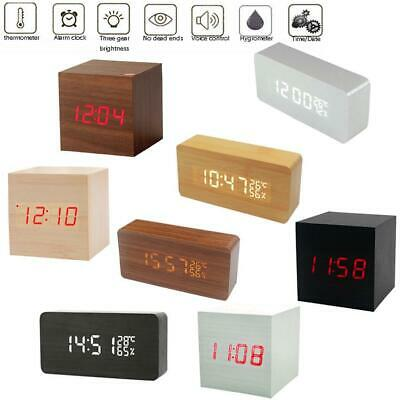 Wood Lightweight Fashion Digital Alarm Clock Voice Control Calendar USB/AAA VG • 11.16£