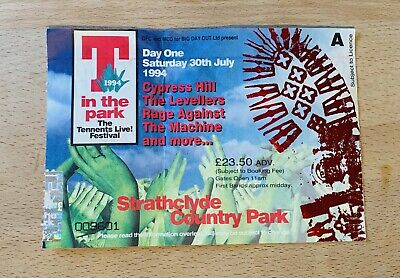 First Ever T In The Park - 1994 Day One Ticket - RATM, Cypress Hill -Rare- Music • 5.50£