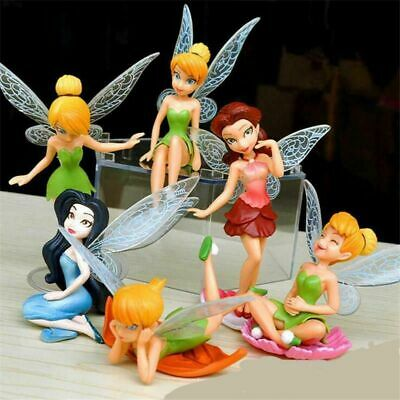 6Pcs Fairies Tinker Bell Cake Toppers Princess Figures Dolls Kids Toys Best Gift • 6.69£