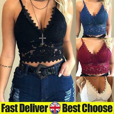 ✅Womens Sexy Lace Bralette Bra Bustier Ladies V Neck Cropped Cami Tank Tops Vest • 5.09£