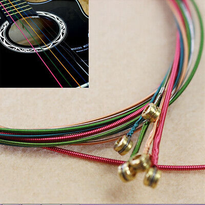 $ CDN5.47 • Buy 1 Set 6Pcs Rainbow Colorful Color Steel Strings Replacement For Acoustic Guitar