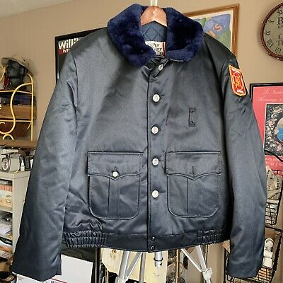 £45.09 • Buy SUPER CHIEF Fur Collar Police Officer/Fire/Military Bomber Jacket Size 48L USA