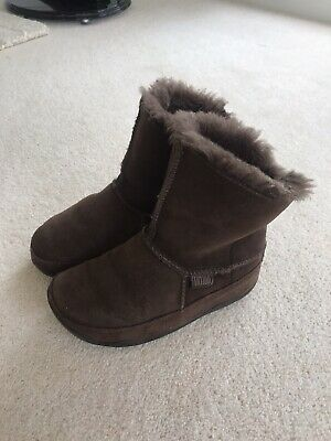 Ladies / Girls Fitflop Brown Flat Ankle Boots U K 1 • 9.99£