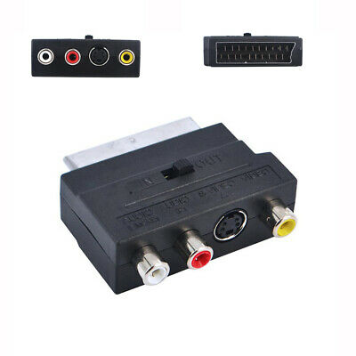£3.04 • Buy SCART Adaptor AV Block To 3 RCA Phono Composite S-Video In / Out Switch UK Gold