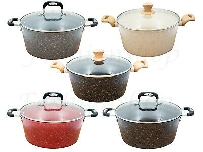 Non Stick Induction Deep Casserole Saucepans Set Stock Pot With Lid Marble Coat  • 21.99£