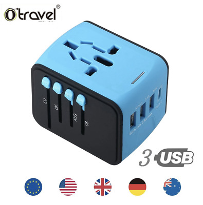 AU27.95 • Buy International Universal Travel Adapter With 3 USB+ Type C AC Power Charger