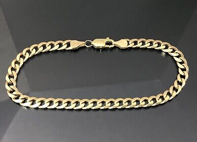 AU495 • Buy 9ct 375 SOLID Yellow Gold Curb Bracelet Italian Made 8.9 Grams 19.5cm's