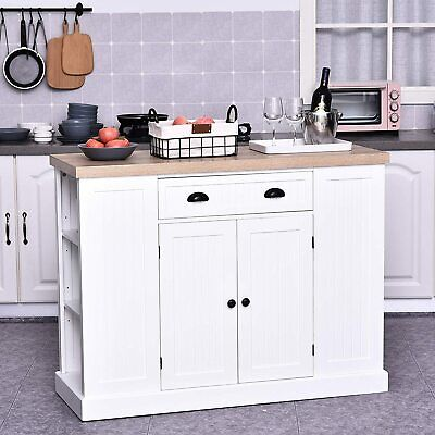 White Kitchen Island Large Storage Cabinet Buffet Sideboard Breakfast Bar Table • 269.99£