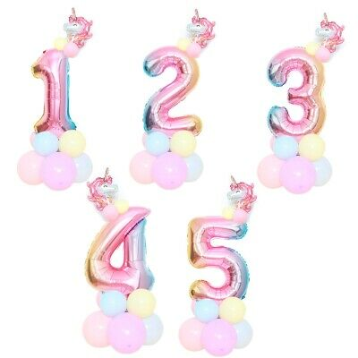 AU5.39 • Buy Unicorn Rainbow Number Foil Balloon Column Stand Princess Birthday Party Decor