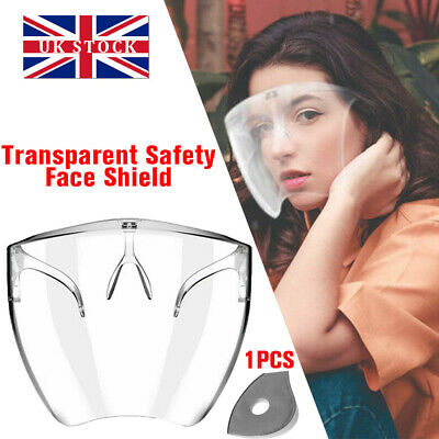 Safety Face Shield Protective Facial Cover Transparent Glasses Visor PPE Mask UK • 5.89£