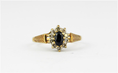9ct Yellow Gold Sapphire And White Stone Set Cluster Ring, (M) • 26£