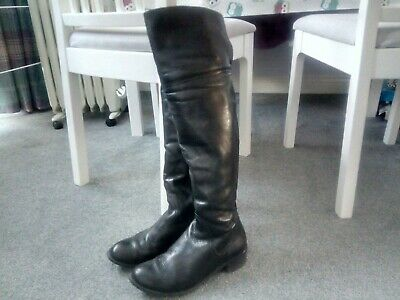 Womens Long Black Real Leather Boots Size 4 • 20£