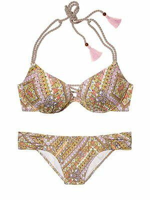 $ CDN47.11 • Buy Victoria Secret 34D Gorgeous Top Escape Pink Paisley Large Knockout Bikini NWT
