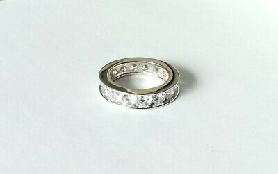 Sterling Silver CZ Full Eternity Ring, Size L-M, Weighs 5gm. Great Sparkle  #739 • 9.50£