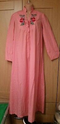 Long Pink Nightdress. Size 12. Hand Made. Embroidered. • 5.95£