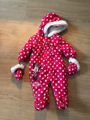Baby Girls 3-6 Months Disney Minnie Mouse Snowsuit With Gloves • 0.99£